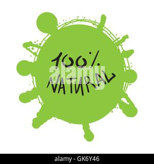 Hand drawn ecology and 100 percents natural lettering badge. Isolated grunge sticker or nature icon of quality for - Stock Photo