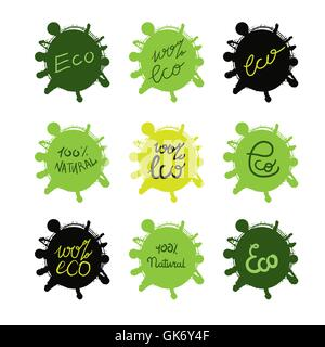 Hand drawn ecology and 100 percents natural lettering badges set. Isolated grunge sticker or nature icon of quality - Stock Photo
