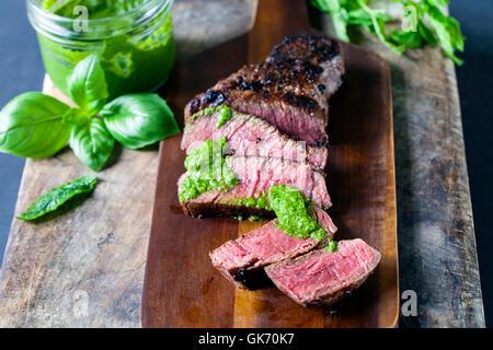 Fillet steak with salsa verde - Stock Photo