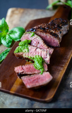 Fillet steak with salsa verde - Stock Photo