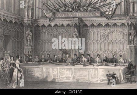 Lord Mayor's table, Guildhall. Grand banquet. LONDON INTERIORS, old print 1841 - Stock Photo