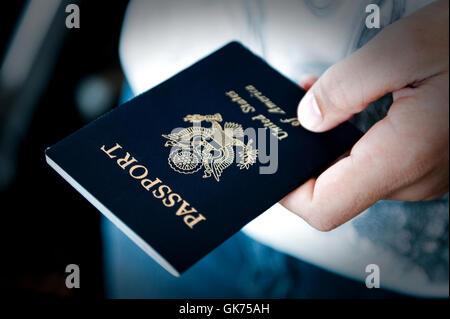 travel usa passport - Stock Photo