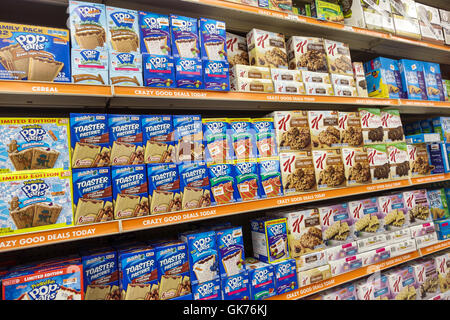 Miami Florida Coral Way Big Lots shopping retail company discount close-out store food display shelf shelves package - Stock Photo