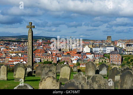 View of Whitby from the graveyard of St Mary's Church, North Yorkshire, England UK - Stock Photo