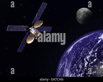 moon communication satellite - Stock Photo