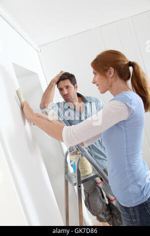 woman house building - Stock Photo