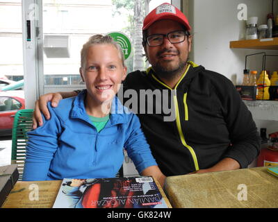 Mexico City, Mexico. 8th Aug, 2016. Annika Wachter (l) and her partner Roberto Gallegos, photographed in a cafe - Stock Photo