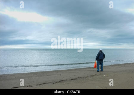 Aberystwyth, Wales, UK. 19th August, 2016.  UK weather: A brave tourist has the beach to himself on a cold grey - Stock Photo