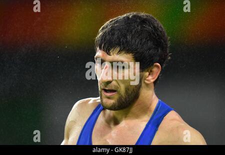 Rio de Janeiro, Brazil. 19th August, 2016. Aniuar Geduev (RUS). Mens Wrestling. Carioca 3. Olympic Park. Rio de - Stock Photo