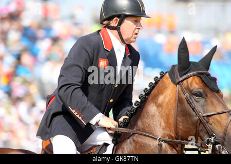 Rio de Janeiro, Brazil. 19th August, 2016. Concentration on the face of Nick Skelton from GBR on 'Big Star' in Round - Stock Photo