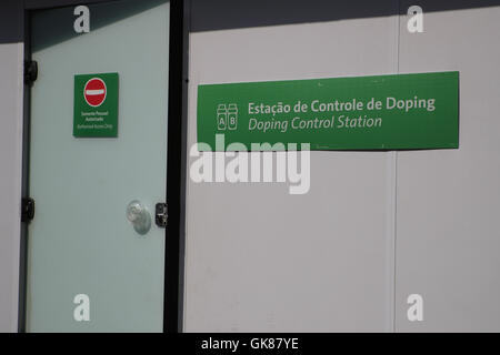 Rio de Janeiro, Brazil. 19th Aug, 2016. The sign for Doping Control Station is seen during the Boxing events of the Rio 2016 Olympic Games at Riocentro Pavilion 6 in Rio de Janeiro, Brazil, 19 August 2016. Photo: Michael Kappeler/dpa/Alamy Live News
