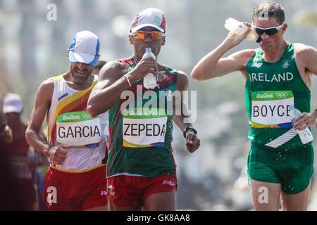 Rio De Janeiro, Brazil. 19th Aug, 2016. Jesus A. Garcia (ESP), Omar Zepeda (MEX) and Brendan Boyce (IRL) during - Stock Photo