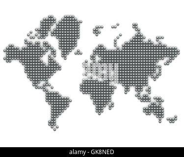 metal globe planet - Stock Photo