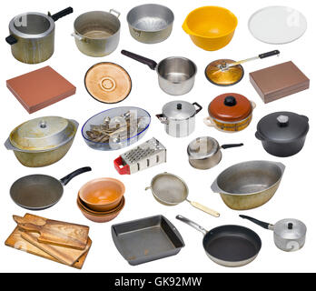 The rural used old dirty vintage kitchen equipment of the ninetieth years of the twentieth century. Isolated set - Stock Photo