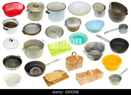 The rustic  used retro  dirty vintage kitchen equipment of the eightieth years of the twentieth century. Isolated - Stock Photo
