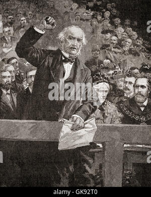 William Gladstone  in a talk delivered at Liverpool in 1896, denouncing the atrocities committed against the Armenians - Stock Photo