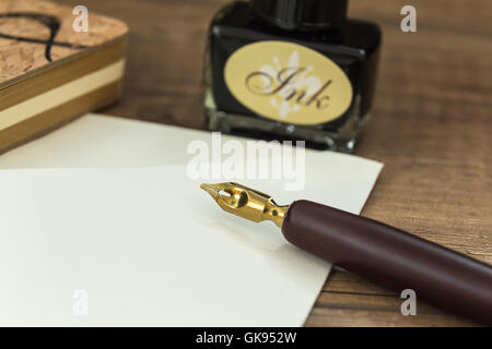 ink set used to write letters with the seal stamp - Stock Photo