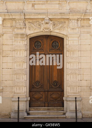 Beautiful front door in the city center of Narbonne, Languedoc Roussillon, southern France - Stock Photo