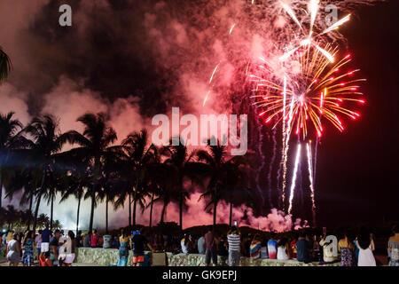 Miami Florida Beach South Beach Lummus Park Fourth of July Independence Day holiday celebration fireworks spectators - Stock Photo