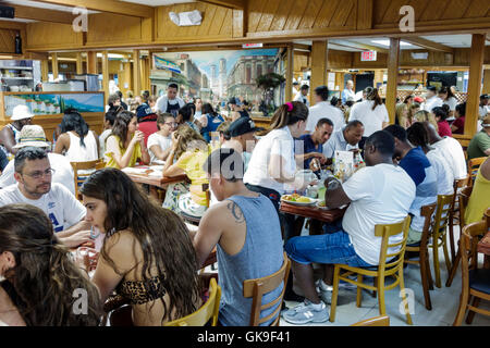 Miami Florida Beach South Beach Collins Avenue Puerto Sagua Restaurant business restaurant dining casual Cuban cuisine - Stock Photo