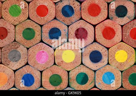 underside of colored pencils - Stock Photo