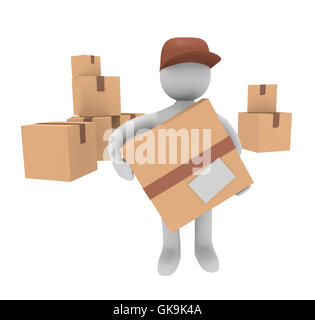 3d man with cardboard boxes - Stock Photo