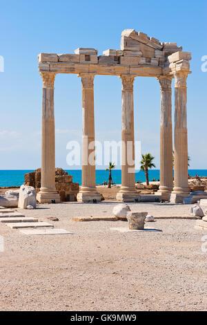 temple of apollo in side,turkish riviera - Stock Photo