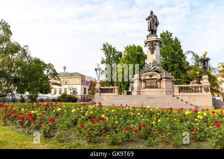 Mickiewicz monument in Warsaw is next to the St. Joseph Church Visitationists - Stock Photo