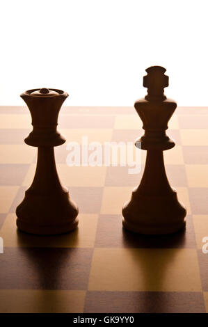 chess King and Queen on the chessboard - Stock Photo