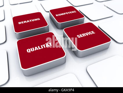 square concept red - consulting competence quality service 1 - Stock Photo