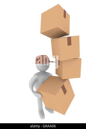 parcel deliverer,3d image - Stock Photo