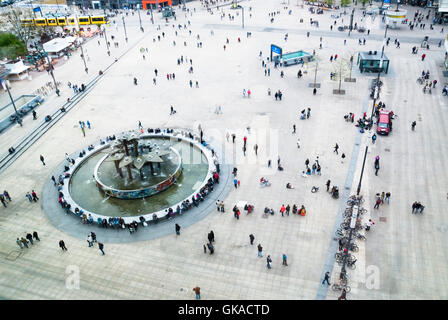 alexanderplatz from above with people's friendship fountain - Stock Photo