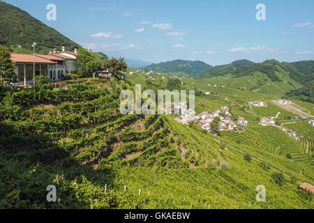 Small town of Valdobbiadene, surrounded by vineyards, zone of production of traditional italian white sparkling - Stock Photo