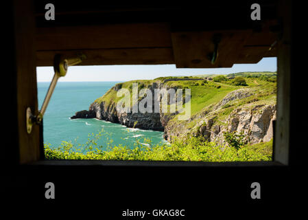 The view from a bird hide over a seabird colony on cliffs at Berry Head. - Stock Photo