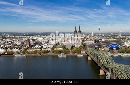 cologne skyline - cologne triangle view - Stock Photo