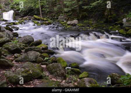 Rocky river fed from a waterfall flowing through the woods - Stock Photo