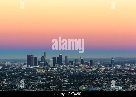 city town sunset - Stock Photo