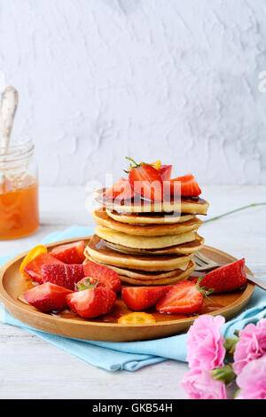Breakfast pancakes with fresh strawberry, food closeup - Stock Photo