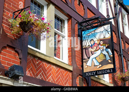 Sign for the Jolly Sailor pub, Whitby, North Yorkshire, England UK - Stock Photo