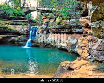 Upper Falls, Old Mans Cave, Hocking Hills State Park, Logan, Ohio, USA - Stock Photo
