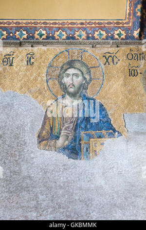 Detail of Christ on the 13th century Deesis mosaic in the upper south gallery, Haghia Sophia, Istanbul, Turkey - Stock Photo