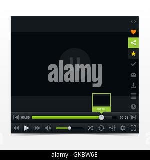 Black media player with video loading bar. Contemporary classic dark style skin. Variation 03 color green - Stock Photo