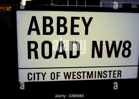 Abbey Road Sign in London England - Stock Photo