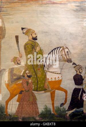 Old painting,  Archeological Museum, Red Fort, Delhi, India - Stock Photo