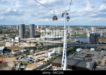 Aerial view of London Docklands UK, from the Emirates cable car crossing - Stock Photo