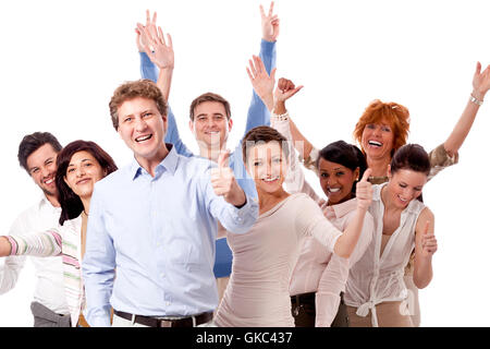 young group team with people of different ages in business - Stock Photo