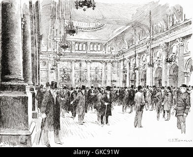 The Interior of the Royal Exchange, Manchester, England in the 19th century. - Stock Photo