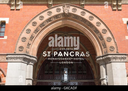 St Pancras Hotel sign, the entrance to the Victorian Gothic Revival style St Pancras Hotel building at King's Cross - Stock Photo