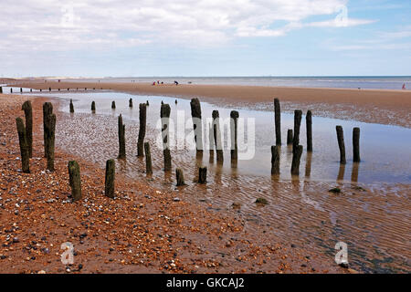 Winchelsea Beach near Rye and Hastings East Sussex UK with old sea defences - Stock Photo