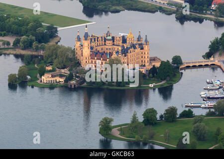 schwerin castle as aerial view from hot air balloon - Stock Photo
